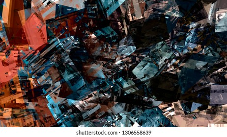 Abstract design paint pattern urban city buildings material surface modern vintage digital graphic art colorful illustration background