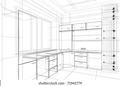abstract design sketch of kitchen interior