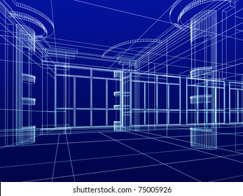abstract design sketch of modern office interior