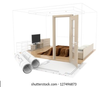 abstract design sketch of room  interior. 3D plan drawing. 3d image