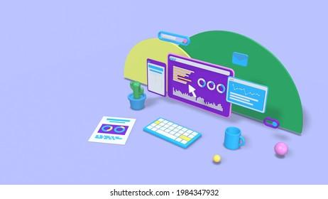 abstrakter Desktop-Computer mit Finanzcharts und -berichten, Konzept des Online-Geschäfts, Aktienmarkt, Kopienraum, Pastellfarben (3D-Rendering)