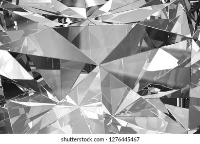 Abstract diamond in close-up shot with glass reflection, 3D rendering - Illustration
