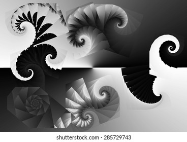 Abstract digital art, spiral fractal grey,black,white, Abstract digital art, spiral fractal gray, Symmetry of positive and negative fractals, black and white,