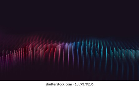 Abstract digital background with cybernetic particles. 3D Illustration
