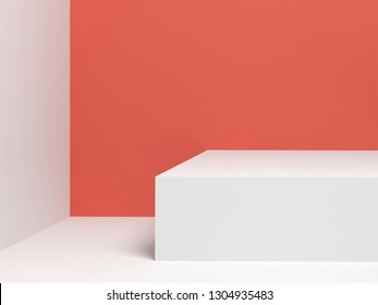 Abstract digital background with empty white stand. 3d render illustration