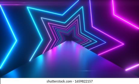Abstract digital background with rotating neon stars. Modern ultraviolet blue purple light spectrum. 3d illustration
