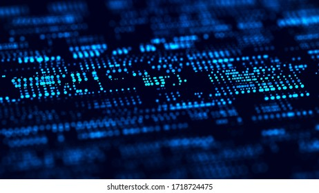 Abstract digital background. Science background. Technological background. Matrix. Binary Code. Falling dots. 3d rendering.