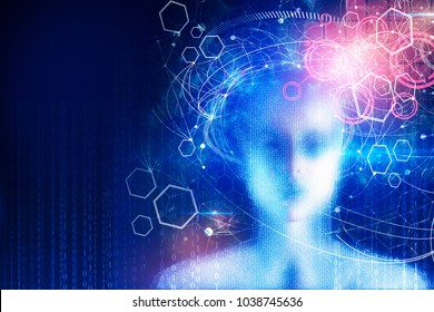 Abstract digital binary code female head on blue wallpaper. Computing, cyberspace and programming concept. Double exposure