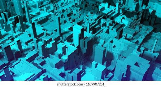 Abstract digital blue city background with buildings and skyscrapers. Urban concept. 3D Rendering