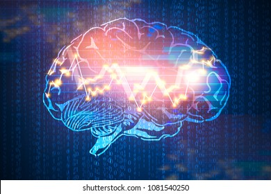 Abstract digital brain with forex chart on binary code background. Computing, ai and trade concept. 3D Rendering