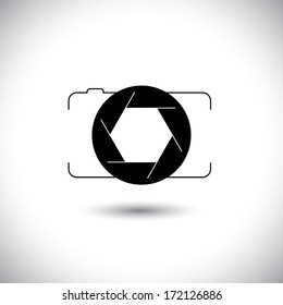 abstract digital camera & shutter icon outline front view. This graphic illustration is simple vector representation of trendy photographic tool for taking photos & videos