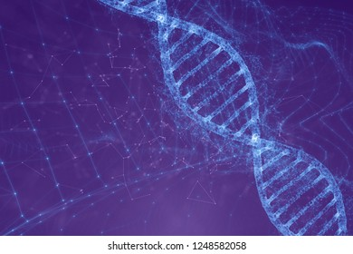 Abstract digital dna molecule on futuristic illustration background.