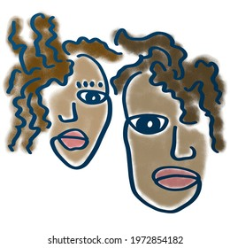 Abstract digital drawing, imitation of pastels, contour, couple, male and female faces, friends, lovers.