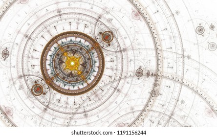 Abstract digital fractal circles compass art on the white background