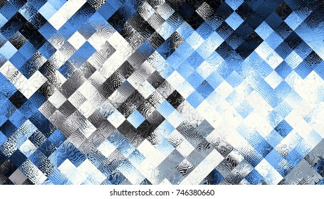 Abstract digital fractal pattern. Horizontal orientation. Low poly texture.