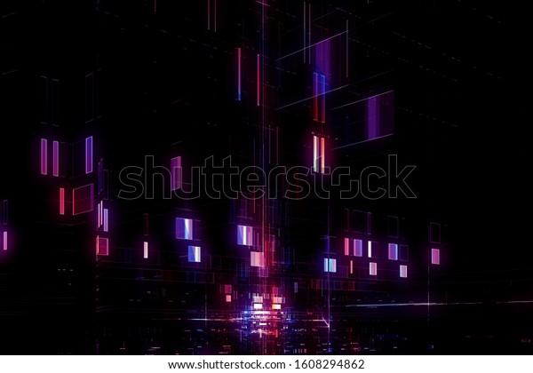 Abstract digital futuristic neon purple blue background