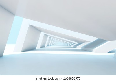 Abstract digital graphic background with empty white endless tunnel perspective. 3d rendering illustration