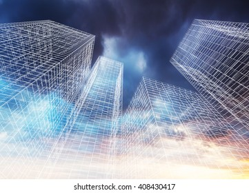 Abstract digital graphic background. Modern skyscrapers perspective. Wire frame lines over colorful dramatic cloudy sky background. 3d render illustration