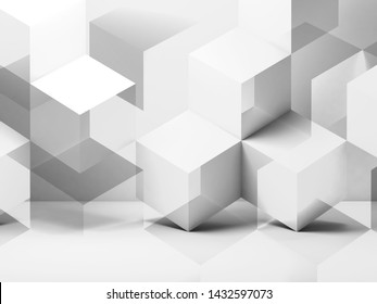 Abstract digital graphic background, white cubes pattern. 3d rendering illustration
