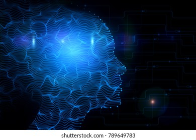 Abstract digital head on black circuit background. Cyberspace and robotics concept. 3D Rendering