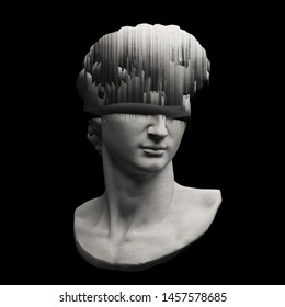 Abstract digital illustration from 3D rendering of glitched Michelangelo's David bust sliced in two.
