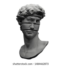 Abstract digital illustration from 3D rendering of Michelangelo's David bust sliced in multiple pieces isolated on white background.