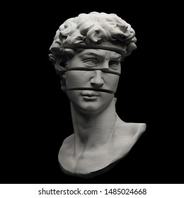 Abstract digital illustration from 3D rendering of statue bust sliced in multiple pieces isolated on black background.