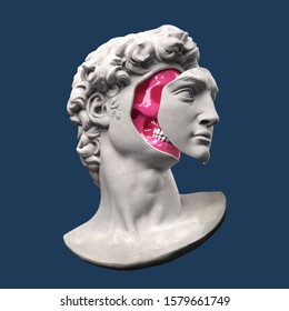 Abstract digital illustration from 3D rendering of a classical head bust with face off showing a pink skull inside.