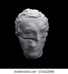 Abstract digital illustration from 3D rendering of Gattamelata bust sliced in two.