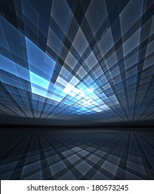 Abstract digital illustration of converging beams of light, suitable for topics such as science / technology, cyberspace and virtual reality