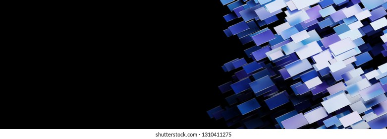 Abstract digital monitors isolated, original 3d rendering