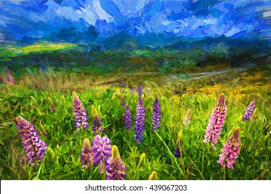 Abstract digital oil painting on canvas,Foxglove flower in front of a landscape field with mountains in the background.