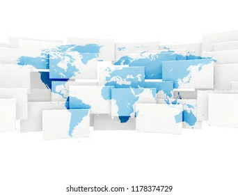 Abstract digital painted world map. 3d render