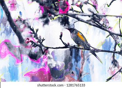 Abstract digital painting of bird and blooming flower in spring season