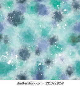 abstract digital painting blue blotches seamless pattern