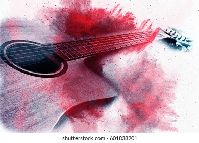Abstract digital painting of guitar