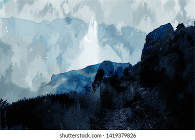 Abstract digital painting of mountain landscape, landscape illustration for background