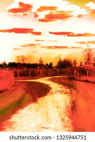 An abstract digital textured painting of a rural path