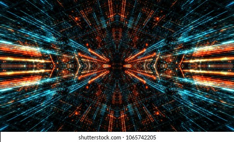 Abstract digital virtual city. Scanning city for hackers attack concept. Software developer, programming, binary computer code with technology and connection concept. 3D render