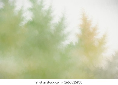 Abstract digitally painted background effects resembling pine trees.