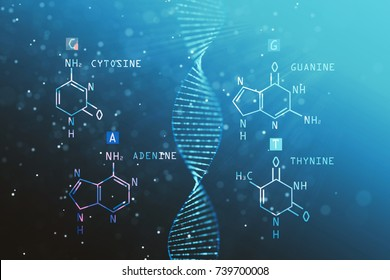 Abstract DNA chemical formula background. Medicine and science concept. 3D Rendering