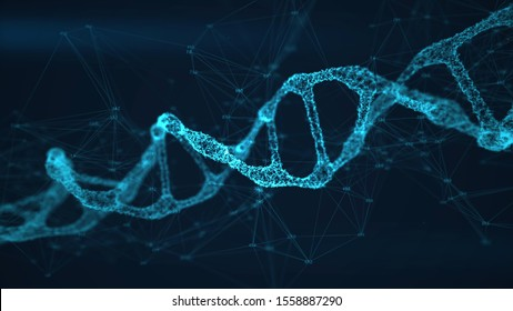 Abstract DNA double helix with depth of field. Building hi-tech DNA structure from points and lines with data around. Scientific biotechnological glowing background. 3D Render illustration