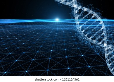 Abstract dna molecule on futuristic cyberspace illustration background.