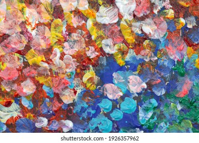 Abstract dot smear brush stroke acrylic and watercolor painting.  Color texture background.