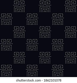Abstract dotted geometric line shape pattern black background. Traditional oriental motif endless geo desing. Duotone grunge simple pattern, allover print block digital wallpaper high resolution image