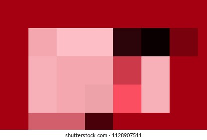 Abstract drawing with colored quadrilaterals on a red background. Abstract colored object from the rectangles on a red background.