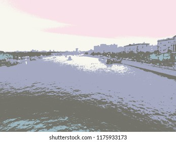 Abstract drawing from a modified image of the Moscow river and embankment. The image of the river and the city embankment in pastel colors.