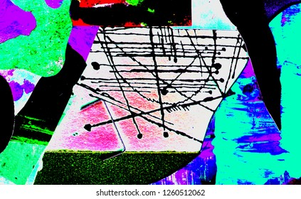 abstract drawing. plastic forms of bright color. the story of the inner space. Purple clouds against a blue sail. a bit of geometry.