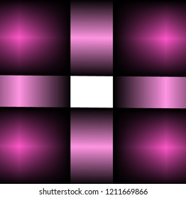 Abstract drawing of a quadrangle with a frame with a shiny surface in purple shades and a white center. Abstract quadrilateral with symmetrical sectors in purple hues and white center.