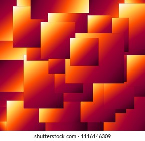 Abstract drawing of a set of quadrilaterals in orange, crimson, yellow and other shades. Many abstract quadrilaterals in orange, crimson, yellow and other shades.